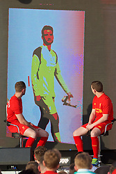 LIVERPOOL, ENGLAND - Monday, May 9, 2016: Liverpool's captain Jordan Henderson and Jon Flanagan look at an image of goalkeeper Simon Mignolet at the launch of the New Balance 2016/17 Liverpool FC kit at a live event in front of supporters at the Royal Liver Building on Liverpool's historic World Heritage waterfront. (Pic by David Rawcliffe/Propaganda)