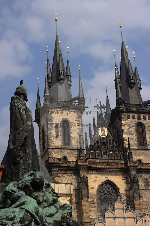 The Gothic Church of Our Lady before Tyn dominates the Old Town Square in the heart of Prague, Czech Republic. The square is surrounded by buildings tracing the history of Prague from Gothic, the Renaissance to Baroque.