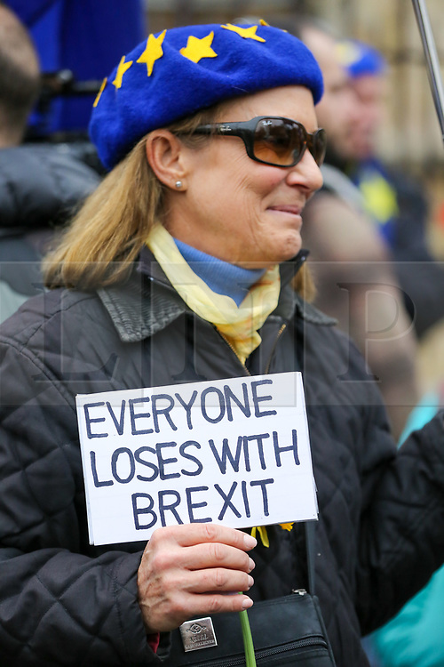 """© Licensed to London News Pictures. 30/01/2020. London, UK. A Pro-European supporter hold a """"EVERYONE LOSES WITH BREXIT"""" sign outside Houses of Parliament on the day before Brexit Day.  The UK will leave the European Union at 11pm on the 31 January 2020. Thereafter will be a transition period until the end of 2020, while the UK and EU negotiate additional arrangements. Photo credit: Dinendra Haria/LNP"""