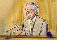 ©PRISCILLA COLEMAN ITV NEWS.SUPPLIED BY: PHOTONEWS SERVICE LTD OLD BAILEY.PIC SHOWS: GP, DR DAVID WARNER WHO GAVE EVIDENCE AT THE INQUIRY INTO THE DEATH OF DR DAVID KELLY AT THE HIGH COURT TODAY-SEE STORY.ILLUSTRATION: PRISCILLA COLEMAN ITV NEWS