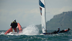 06.08.2012, Bucht von Weymouth, GBR, Olympia 2012, Segeln, im Bild Reichstaedter Florian, Schmid Matthias, (AUT, 470 Men) with coach // during Sailing, at the 2012 Summer Olympics at Bay of Weymouth, United Kingdom on 2012/08/06. EXPA Pictures © 2012, PhotoCredit: EXPA/ Juerg Kaufmann ***** ATTENTION for AUT, CRO, GER, FIN, NOR, NED, POL, SLO and SWE ONLY!
