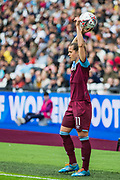 Katharina Baunach (West Ham) with a throw in during the FA Women's Super League match between West Ham United Women and Tottenham Hotspur Women at the London Stadium, London, England on 29 September 2019.