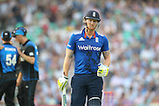 England Ben Stokes is out for 28 during the Royal London One Day International match between England and New Zealand at the Oval, London, United Kingdom on 12 June 2015. Photo by Phil Duncan.