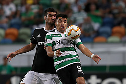 September 20, 2018 - Lisbon, Portugal - Sporting's forward Marcos Acuna from Argentina (R ) vies with Qarabag's midfielder Mahir Madatov during the UEFA Europa League Group E football match Sporting CP vs Qarabag at Alvalade stadium in Lisbon, on September 20, 2018. (Credit Image: © Pedro Fiuza/NurPhoto/ZUMA Press)