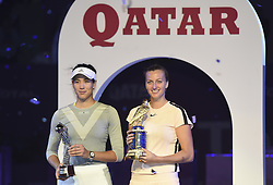DOHA, Feb. 19, 2018  Petra Kvitova (R) of Czech Republic and Garbine Muguruza of Spain pose with the trophy after the single's final match at the 2018 WTA Qatar Open in Doha, Qatar, on Feb. 18, 2018. Petra Kvitova won 2-1 to claim the title. (Credit Image: © Nikku/Xinhua via ZUMA Wire)