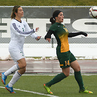 2nd year forward Sienne Krynowsky (14) of the Regina Cougars in action during the Women's Soccer  road trip to Saskatoon on October 9 at Griffiths Stadium. Credit: Arthur Ward/Arthur Images