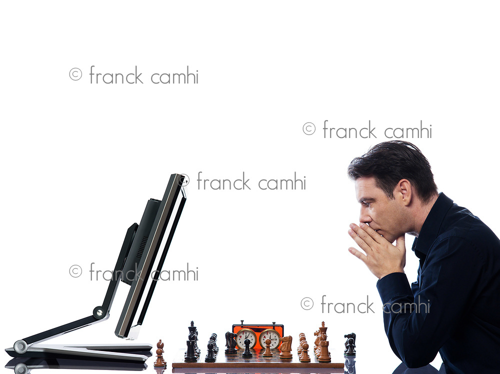 caucasian man playing chess with computer mindful concept on isolated white background