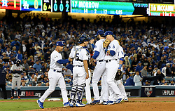 October 31, 2017 - Los Angeles, California, U.S. - Los Angeles Dodgers relief pitcher Brandon Morrow (17) is taken out of the game with one runner on in the 6th inning of game six of a World Series baseball game at Dodger Stadium on Tuesday, Oct. 31, 2017 in Los Angeles. (Photo by Keith Birmingham, Pasadena Star-News/SCNG) (Credit Image: © San Gabriel Valley Tribune via ZUMA Wire)