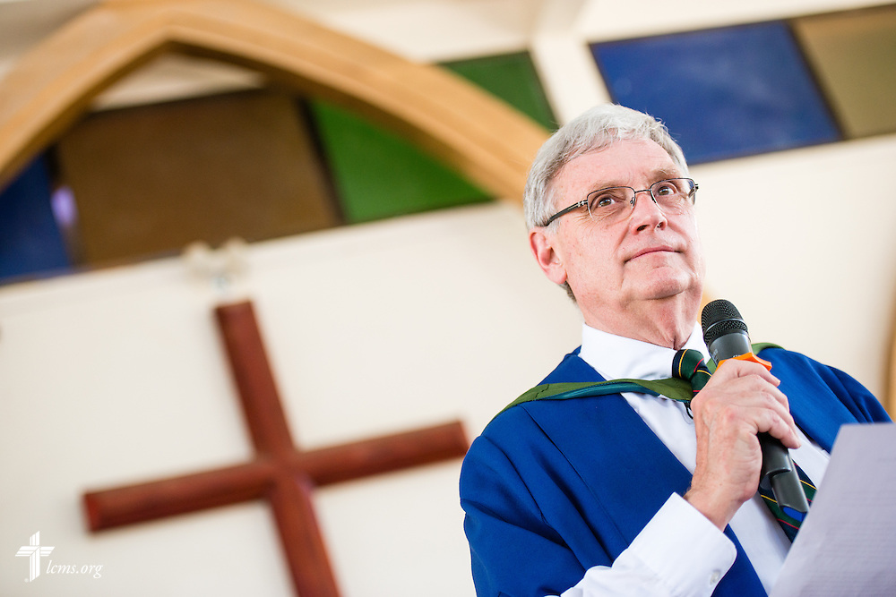 The Rev. Dr. Timothy Quill, professor and director of International Studies at Concordia Theological Seminary, Fort Wayne, Ind., speaks during the graduation of 21 pastors and seven deaconesses on Saturday, March 14, 2015, at the Evangelical Lutheran Church in Tanzania – South-East of Lake Victoria Diocese's (ELCT-SELVD) Ebenezer Cathedral in Shinyanga, Tanzania.  LCMS Communications/Erik M. Lunsford