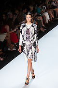 Black, gray and white print dress with a long matching jacket. By Monique Lhuillier at Spring 2013 Fall Fashion Week in New York.