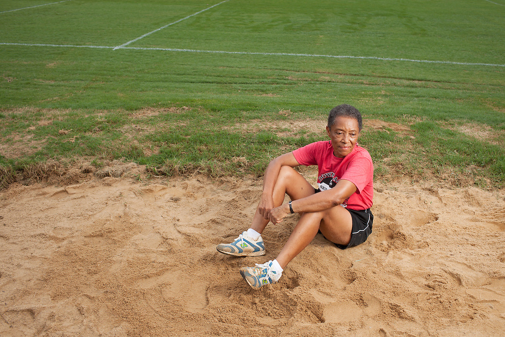 Judith Moss, 74, of Tarboro, North Carolina, will be competing in the running long jump at the state-wide Senior Games this September. Moss practices at the Tarboro High School track, Thursday, August 9, 2012. ..Photo by D.L. Anderson.Model Release - Yes.Micheal Wichita, AARP State Bulletin.