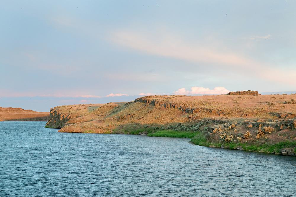 soft evening summer light on pond in Potholes Reservoir, WA.