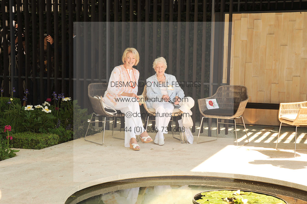 Th 2010 Royal Horticultural Society Chelsea Flower show in the grounds of Royal Hospital Chelsea, London on 24th May 2010.<br /> <br /> Picture shows:-Left to right, DIANA MORAN and JUNE WHITFIELD