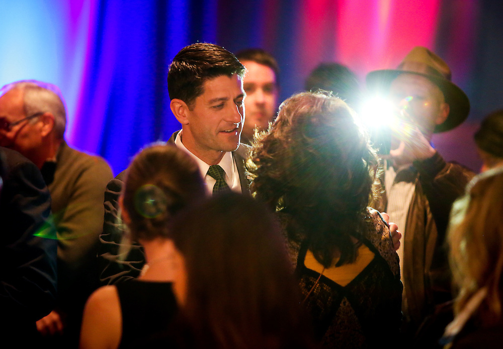 "U.S. Speaker of the House Paul Ryan (R-WI) meets with an attendee during an ""Election Night event"" in Janesville, Wisconsin, U.S. November 8, 2016. REUTERS/Ben Brewer"