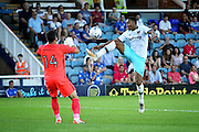 West Ham no 9 Sam Ford one on one with Peterborough goalkeeper Mark Tyler during the Pre-Season Friendly match between Peterborough United and West Ham United at London Road, Peterborough, England on 19 July 2016. Photo by Nigel Cole.