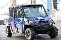 Minneapolis, MN - January 26, 2017: Super bowl LII Bold North Zip Line shuttle, a Polaris Ranger XP utility vehicle, is being used to shuttle riders to and from the main super bowl staging area.