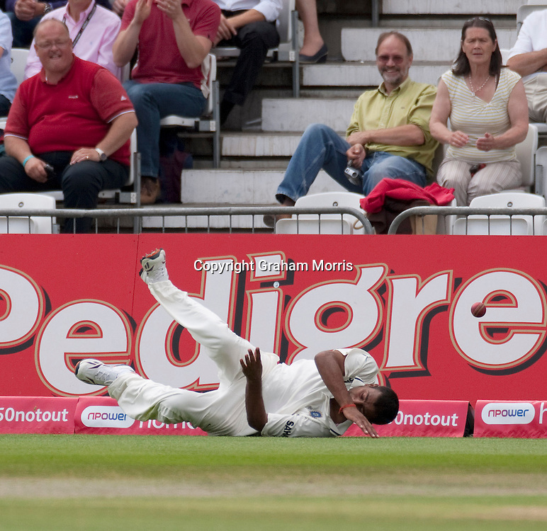 Praveen Kumar fails to stop a Tim Bresnan four during the second npower Test Match between England and India at Trent Bridge, Nottingham.  Photo: Graham Morris (Tel: +44(0)20 8969 4192 Email: sales@cricketpix.com) 01/08/11