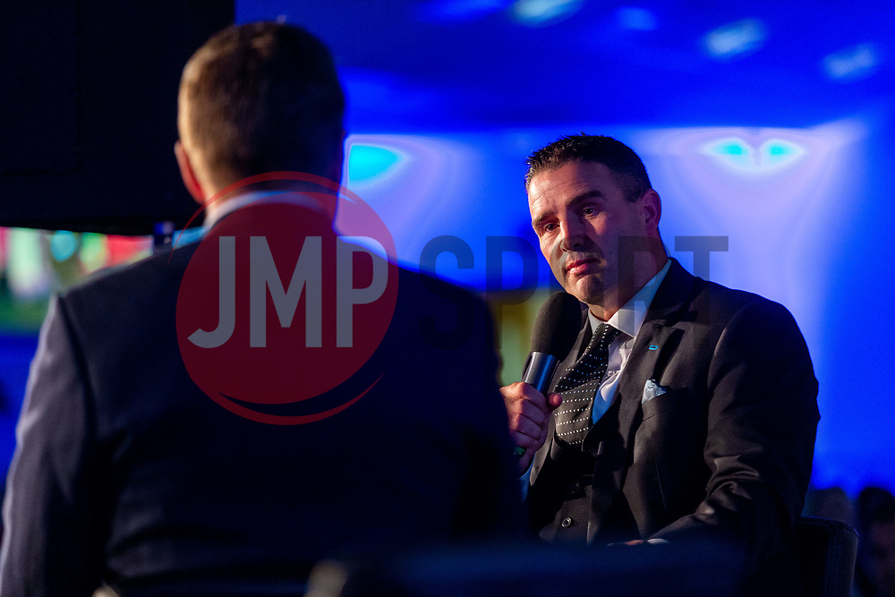 Mark Stevens interviews Rob Baxter during a Q&A Session - Ryan Hiscott/JMP - 06/08/2018 - RUGBY - Sandy Park - Exeter, England - Exeter Chiefs Season Launch Dinner