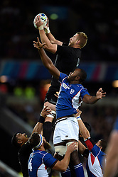 Luke Romano of New Zealand rises high to win lineout ball - Mandatory byline: Patrick Khachfe/JMP - 07966 386802 - 24/09/2015 - RUGBY UNION - The Stadium, Queen Elizabeth Olympic Park - London, England - New Zealand v Namibia - Rugby World Cup 2015 Pool C.