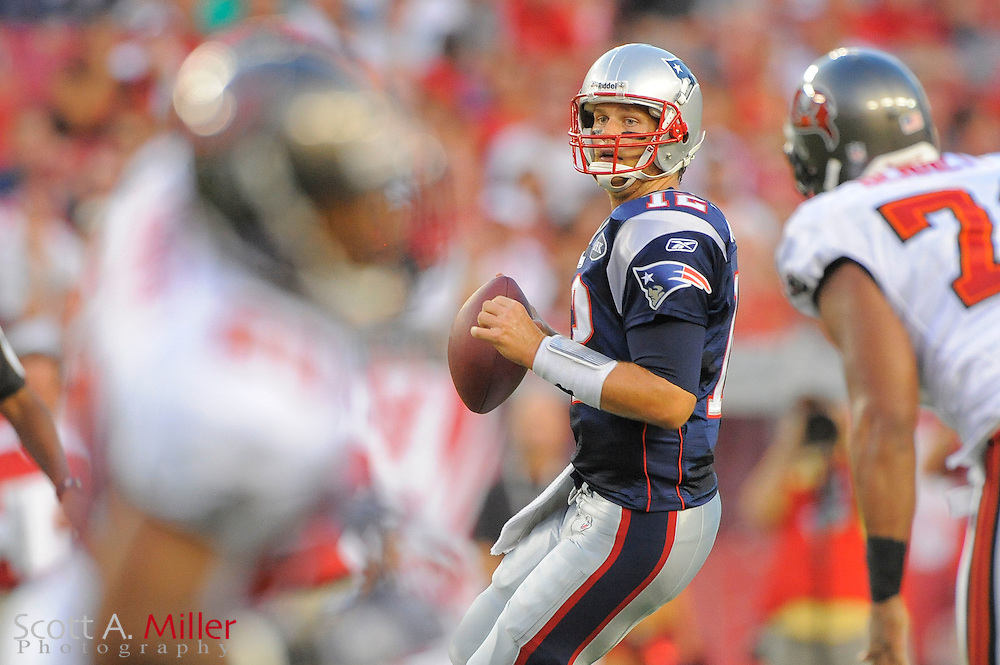 New England Patriots quarterback Tom Brady (12) during the Pats game against the Tampa Bay Buccaneers at Raymond James Stadium on Aug. 18, 2011 in Tampa, Fla...©2011 Scott A. Miller.