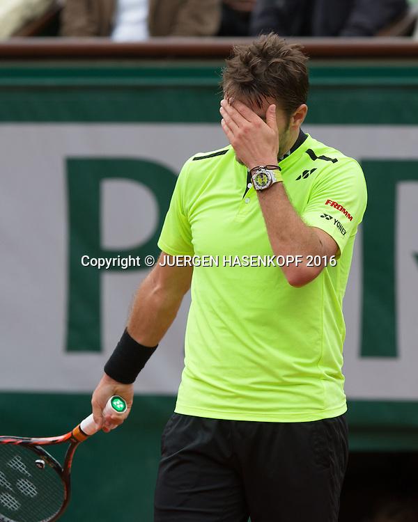 Stan Wawrinka (SUI) reagiert enttaeuscht, Enttaeuschung,Aerger,Frust,Emotion,<br /> <br /> Tennis - French Open 2016 - Grand Slam ITF / ATP / WTA -  Roland Garros - Paris -  - France  - 3 June 2016.