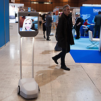 Lyon, France - 19 March 2014: an Awabot robot at Innorobo 2014, the 4th international trade show on service robotics.