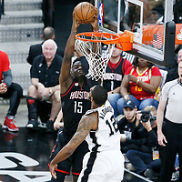 01 May 2017: Houston Rockets center Clint Capela (15) dunks on San Antonio Spurs forward LaMarcus Aldridge (12) during the Houston Rockets 126-99 victory over the San Antonio Spurs, in game 1 of the Western Conference Semi Finals, at the AT&T Center, San Antonio, Texas, USA.
