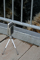 A digital sound recorder recording the sound of a river in Galway Ireland