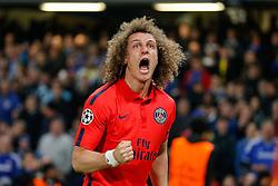 Former Chelsea player David Luiz of Paris Saint-Germain celebrates scoring a goal to level at 1-1 - Photo mandatory by-line: Rogan Thomson/JMP - 07966 386802 - 11/03/2015 - SPORT - FOOTBALL - London, England - Stamford Bridge - Chelsea v Paris Saint-Germain - UEFA Champions League Round of 16 Second Leg.