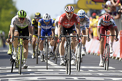 July 15, 2018 - Amiens Metropole, FRANCE - Norwegian Edvald Boasson Hagen of Dimension Data and German Andre Greipel of Lotto-Soudal pictured during the arrival of the eighth stage of the 105th edition of the Tour de France cycling race, from Arras Citadelle to Roubaix (156,5 km), in France, Sunday 15 July 2018. This year's Tour de France takes place from July 7th to July 29th. BELGA PHOTO YORICK JANSENS (Credit Image: © Yorick Jansens/Belga via ZUMA Press)