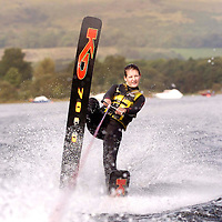 Loch Lomond water ski club kids ski against the 7mph ban...Emma Mitchell (18) British Water Ski Champion from Balloch lends her support.
