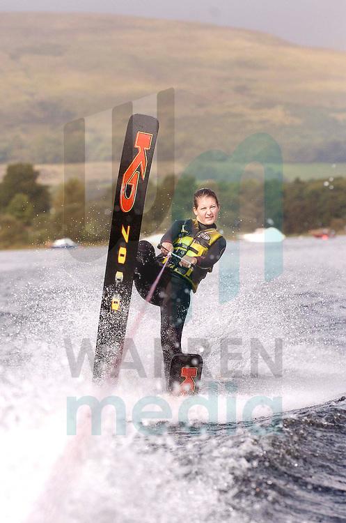 Loch Lomond water ski club kids ski against the 7mph ban...Emma Mitchell (18) British Water Ski Champion from Balloch lends her support.