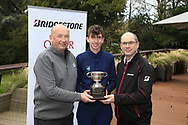 Tom McKibbin  winner of the Junior Bridgestone Order of Merit pictured with Frank and Colm Conyngham Bridgestone Ireland at the presentations in the GUI National Academy, Maynooth, Kildare, Ireland. 30/11/2019.<br /> Picture Fran Caffrey / Golffile.ie<br /> <br /> All photo usage must carry mandatory copyright credit (© Golffile   Fran Caffrey)