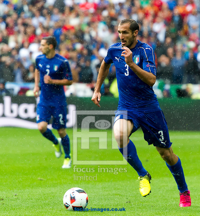 Giorgio Chiellini of Spain in action during the UEFA Euro 2016 match at Stade de France, Paris<br /> Picture by Anthony Stanley/Focus Images Ltd 07833 396363<br /> 27/06/2016