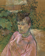 Woman in the garden of Monsieur Forest' 1889-1891:  by Henri de Toulouse- Lautrec (1864-1901) French painter, draftsman and illustrator.  Oil on canvas.