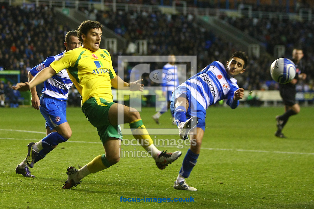 Reading - Saturday November 13th, 2010: Chris Martin of Norwich claims he is fouled by Reading's Jem Karacan during the Npower Championship match at The Madejski Stadium, Reading. (Pic by Paul Chesterton/Focus Images)