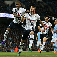 Tottenham Hotspur's Harry Kane celebrates scoring from the penalty spot during the Barclays Premier League match between Manchester City and Tottenham Hotspur played at the Etihad Stadium, Manchester on February 14th 2016