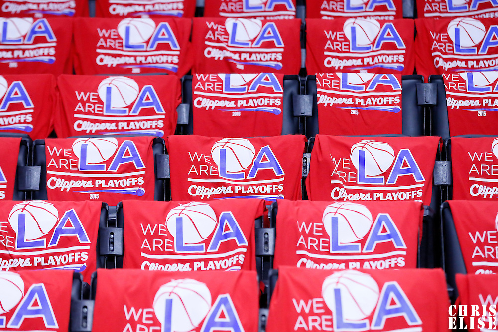 19 April 2014: Tee-shirts on seats prior to the Los Angeles Clippers 107-92 victory over the San Antonio Spurs, during Game One of the Western Conference Quarterfinals of the NBA Playoffs, at the Staples Center, Los Angeles, California, USA.
