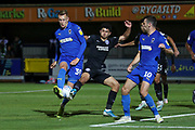 AFC Wimbledon striker Joe Pigott (39) shoots at goal during the EFL Trophy (Leasing.com) match between AFC Wimbledon and U23 Brighton and Hove Albion at the Cherry Red Records Stadium, Kingston, England on 3 September 2019.