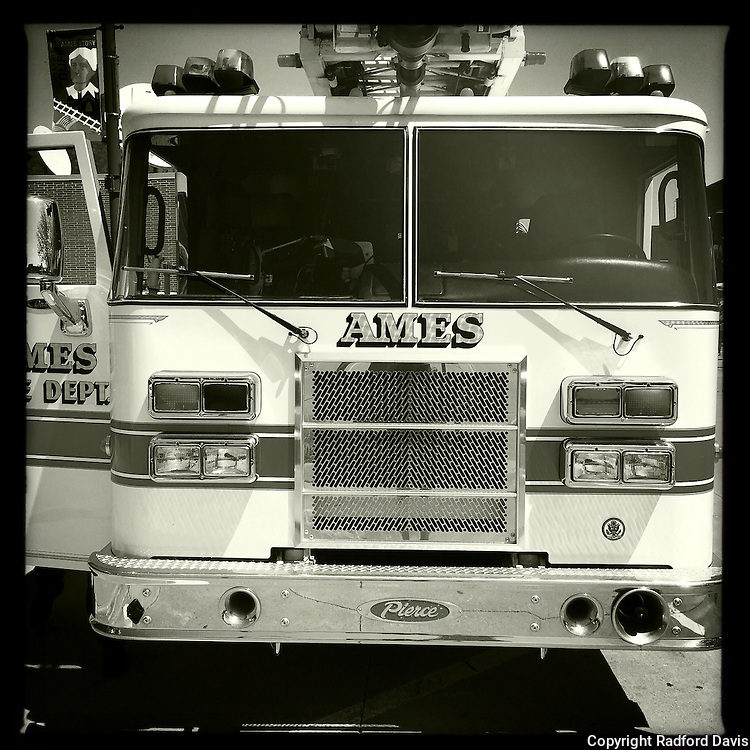 Fire trucks at the Ames Healthy Street event in Ames, Iowa