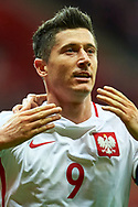 Warsaw, Poland - 2017 September 04: Robert Lewandowski from Poland celebrates after scoring during soccer match Poland v Kazakhstan - FIFA 2018 World Cup Qualifier at PGE National Stadium on September 04, 2017 in Warsaw, Poland.<br /> <br /> Adam Nurkiewicz declares that he has no rights to the image of people at the photographs of his authorship.<br /> <br /> Picture also available in RAW (NEF) or TIFF format on special request.<br /> <br /> Any editorial, commercial or promotional use requires written permission from the author of image.<br /> <br /> Mandatory credit:<br /> Photo by © Adam Nurkiewicz / Mediasport