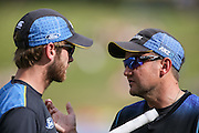 Black Cap's Head Coach Mike Hesson (R) chats with Black Cap's captain Kane Williamson (L) ahead of the second T20 match of the ANZ International T20 series - New Zealand Black Caps v Pakistan played at Seddon Park, Hamilton, New Zealand on Sunday 17 January 2016. Copyright Photo:  Bruce Lim / www.photosport.nz