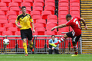 Barry Mason of Sholing (right) shoots during the FA Vase match at Wembley Stadium, London<br /> Picture by David Horn/Focus Images Ltd +44 7545 970036<br /> 10/05/2014