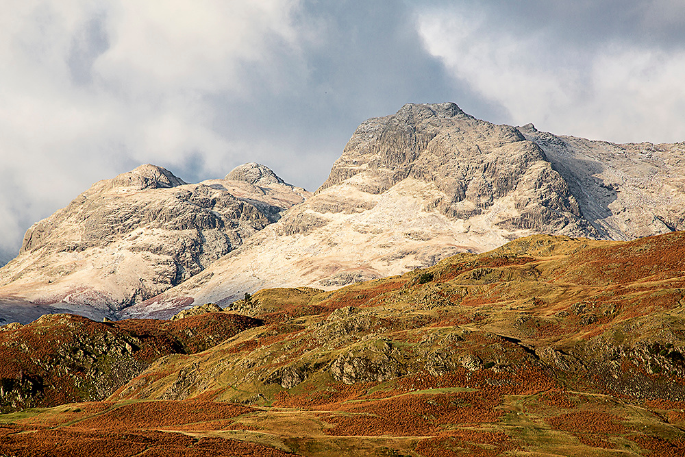 Early Morning Light on the snow dusted Langdale Pikes