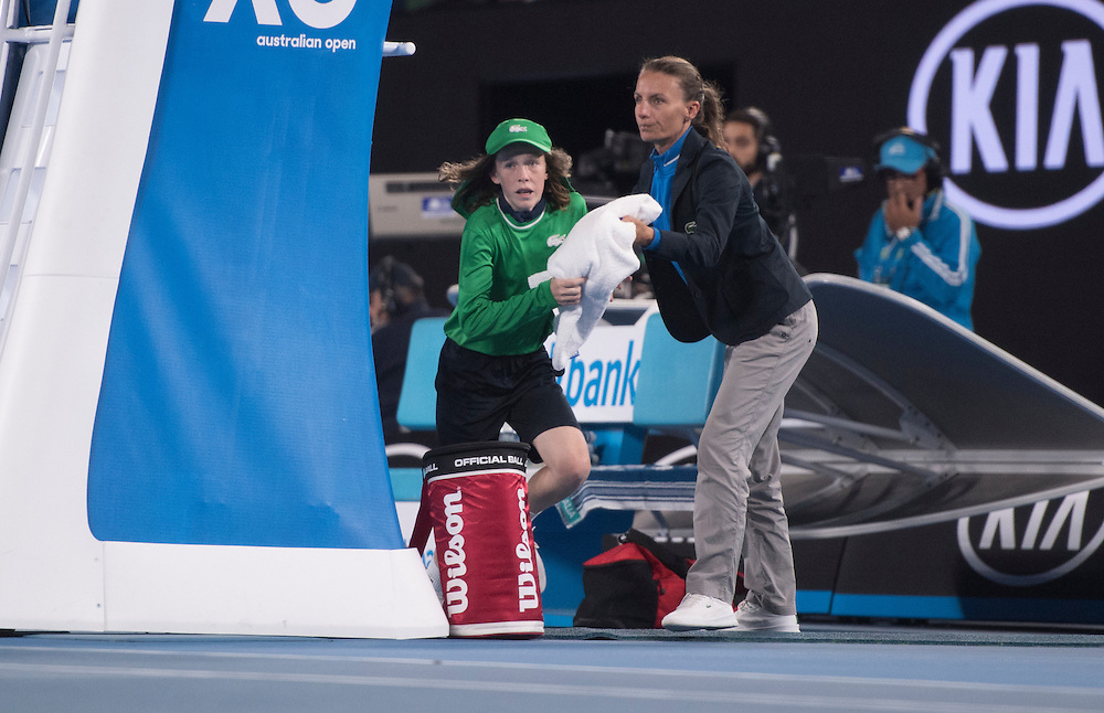 A chair umpire on day ten of the 2017 Australian Open at Melbourne Park on January 25, 2017 in Melbourne, Australia.<br /> (Ben Solomon/Tennis Australia)