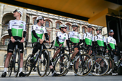 March 10, 2019 - Paris, Ile-de-France, France - Dimension Data cycling cycling team poses during the team's presentation at the start of the 138,5km 1st stage of the 77th Paris-Nice cycling race between Saint-Germain-en-Laye and Saint-Germain-en-Laye in the west suburb of Paris, France, on March 10, 2019. Whether leaders of a team or merely a team-mate, the riders on the Paris-Nice try to excel, either individually or as a team. According to the stage profiles, changes in the general standings or some unexpected circumstance during the race, each rider adapts his objectives to the situation. (Credit Image: © Michel Stoupak/NurPhoto via ZUMA Press)