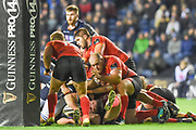 Edinburgh force their way over the line for a try during the Guinness Pro 14 2018_19 match between Edinburgh Rugby and Southern Kings at BT Murrayfield Stadium, Edinburgh, Scotland on 5 January 2019.