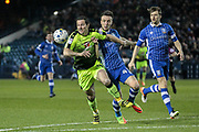 Yann Kermorgant (Reading) runs into the box to set up a scoring opportunity during the EFL Sky Bet Championship match between Sheffield Wednesday and Reading at Hillsborough, Sheffield, England on 17 March 2017. Photo by Mark P Doherty.