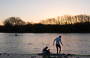 Caversham, Reading, Great Britain,  Sunrise, as Matt GOTRAL [left] and Paul BENNET prepare to boat for the first training session of the day.   GBRowing Training Session, at the National Training Base, Berkshire, England.<br />