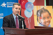 Harris County Department of Education Board of Trustees President Josh Flynn comments during a ribbon cutting ceremony for the new Baytown Head Start and Early Head Start facility, May 23, 2019.